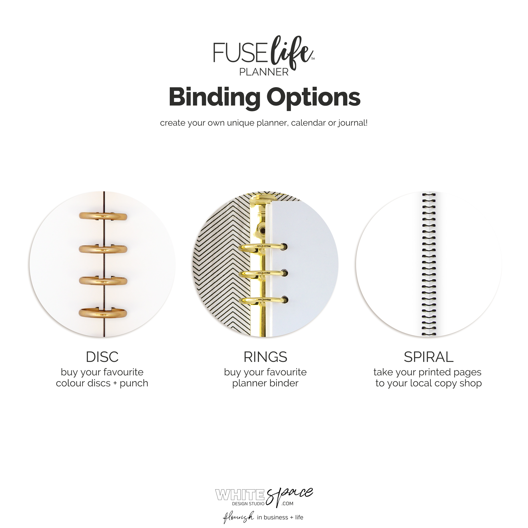 Printable planner binding options