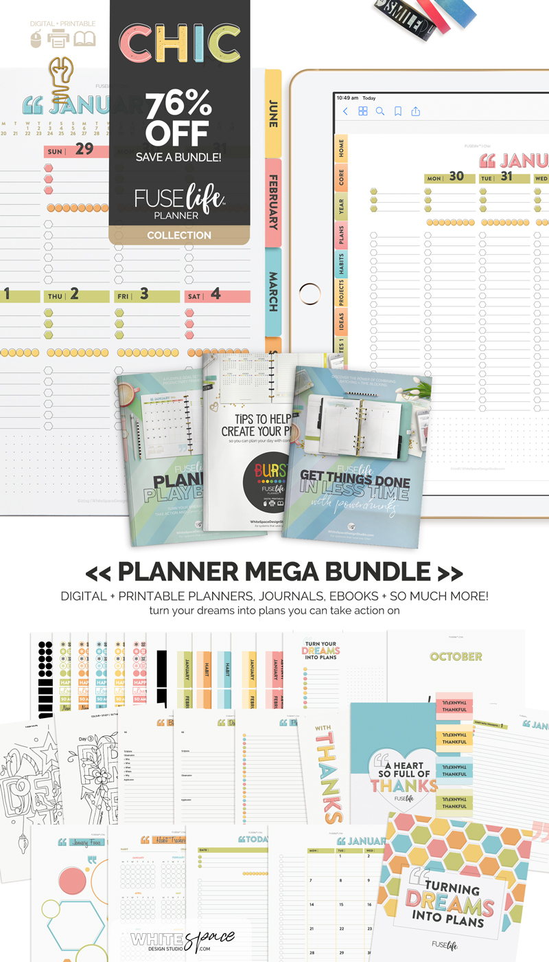 FUSElife Planner Mega Bundle 75% OFF at WhiteSpaceDesignStudio.com