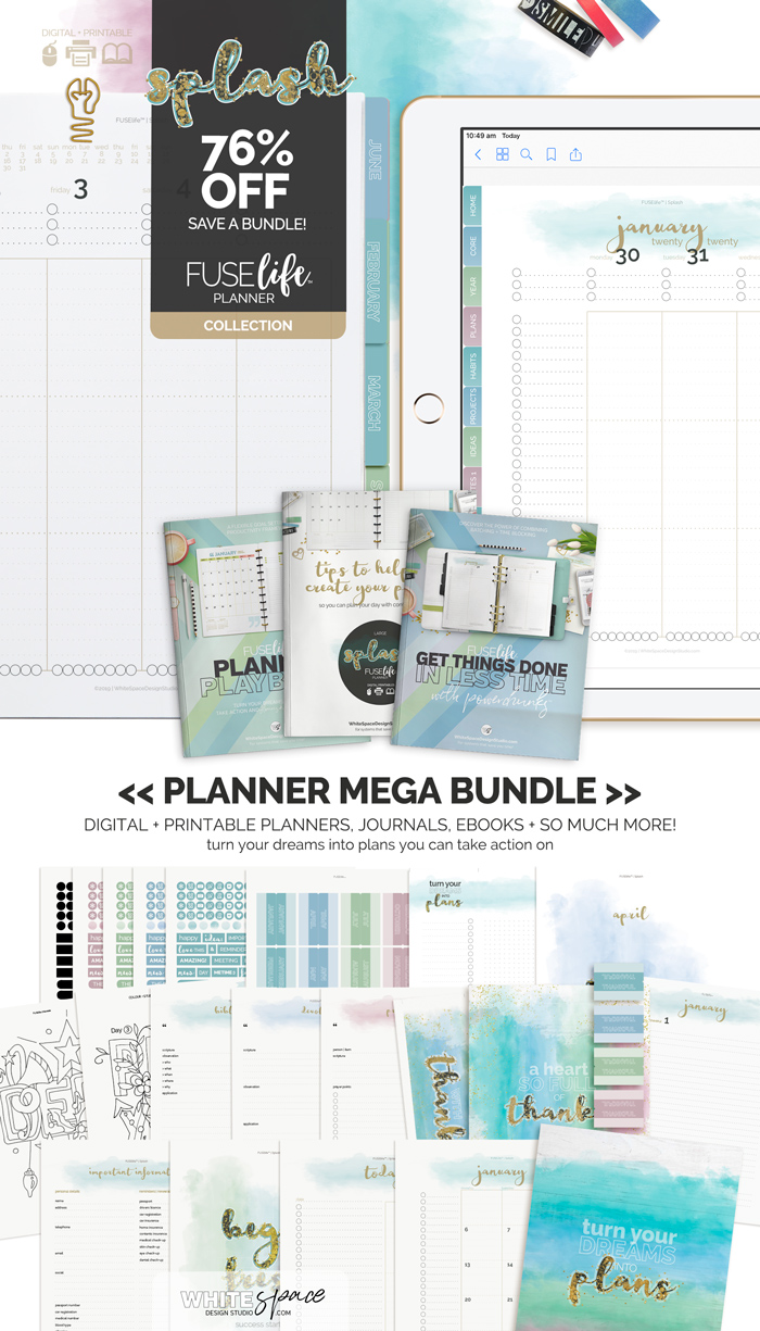 FUSElife Planner Mega Bundle 75% OFF at WhiteSpaceDesignStudio.com